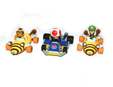 "Super Mario Bros Luigi Toad Mushroom With Race Vehicles Car 3"" Loose Figure Set"