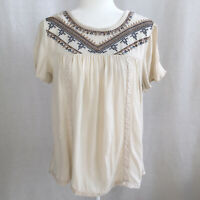 Knox Rose Bohemian Embroidered Peasant Lace Tassel Short Sleeve Top Size Large