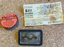 California holder & pinback fishing 1934 & 1937 Resident Angling License