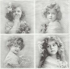 2 Serviettes papier Fillettes Fleurs Paper Napkins 4 Flower Girls Sagen Vintage