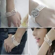 Femmes 4 Couches Fleur Rose Cristal Perle Bouton de manchette Style Bracelet WST
