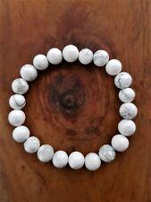 White Howlite Natural Stone Healing Calming Stretch 8mm Bead Bracelet
