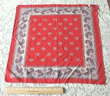 "Vintage Antique French Cotton Turkey Red & Navy Blue Bandana c1910~L-21""X W-20"""