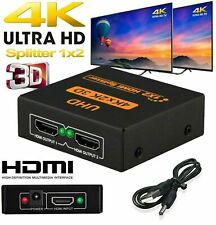 2 WAY HDMI SPLITTER SWITCH BOX HUB 4K UHD 3D 2160p 1 IN 2 OUT 1 INPUT 2 OUTPUT
