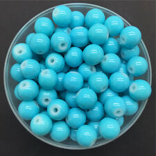NEW DIY 4mm 100PCS Sky Blue Glass Round Pearl Spacer Loose Beads Jewelry Making