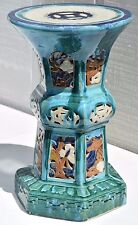 "20"" ANTIQUE CHINESE FLAMBE DRIP GLAZE POTTERY TURQUOISE PORCELAIN ALTER TABLE"