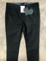 "TED BAKER BLACK ""TEENCHI"" TAPERED FIT TROUSERS PANTS CHINOS - 30R - NEW & TAGS"