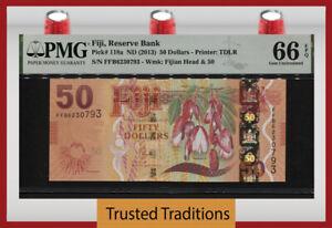 TT PK 118a ND (2013) FIJI RESERVE BANK 50 DOLLARS PMG 66 EPQ GEM UNCIRCULATED!