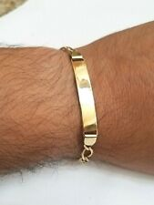 """GOLD Bracelet mens 14k solid real Yellow Figaro 8"""" 8 Inch 8g 7mm"""