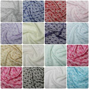 Pretty Budget Floral Lace Wedding Craft Dress Fabric Material All Colour 114cm
