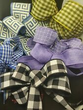 Mixed Lot of 7 Bows Buffalo Plaid, Gingham Check, Blue, Purple Wired Ribbon
