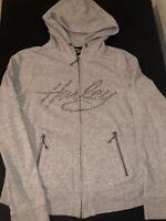 HARLEY DAVIDSON Women's Rhinestone Spell Out Logo Gray Full Zip Hoodie Size S