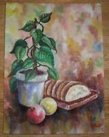 VINTAGE AUTUMN FRUIT APPLES BREAD IVY STILL LIFE SHABBY DISTRESSED CHIC PAINTING