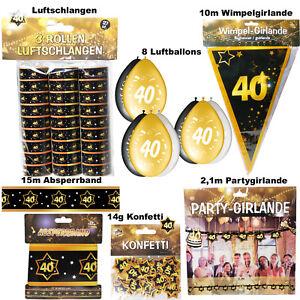 40. Geburtstag Deko Set 40 Jahre Dekoration Party Zubehör Gold Jubiläum Feier