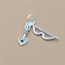 5 Sterling Silver Bow and Arrow Charms 925 Silver Archery Lover Heart Arrow