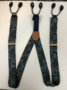 CAS West Germany Floral Paisley Leather Britches Suspenders Vintage