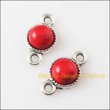 5 Retro Charms Tibetan Silver Red Turquoise Round Pendants Connectors 10x18.5mm