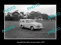 OLD LARGE HISTORIC PHOTO OF 1958 VAUXHALL VELOX STATION WAGON PRESS PHOTO