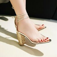 UK Women Block Mid High Heel Transparency Strappy Glitter Open Toe Sandals Party