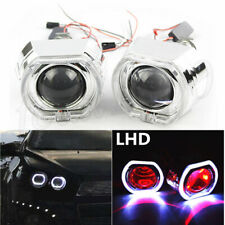 LED Square Angel Eyes DRL Bi Xenon Car H1 HID Headlight Projector Lens Red LHD 2