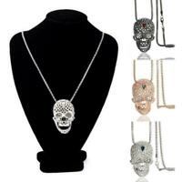 Punk Skull Pendant Necklace Women Crystal Chain Skeleton Necklace Jewelry H J7D4