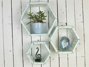 Handmade Hexagon Shelves Shabby Chic Set Of 3 Wooden Shelves.