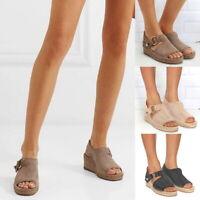 Mode Femmes Sandales été Sandales à Talon Compensé Chaussures à boucle 04