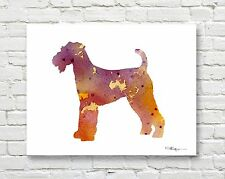 Lakeland Terrier Contemporary Watercolor Abstract Art Print by Artist Djr