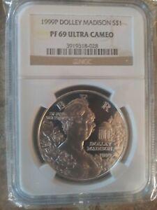 1999-P $1 Dolly Madison 90% SILVER Commemorative Dollar, NGC PF 69 Ultra Cameo