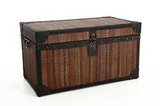 "VIVANNO Große, edle Truhe Box ""Bali"" 80 cm aus Rattan/Akazie/Leder"