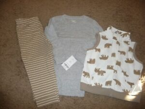 NEW NWT Carters boys 24 months 3 piece fleece vest pant set outfit with bears