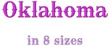 Oklahoma Font Machine Embroidery Designs on CD in 8 sizes for 649 files