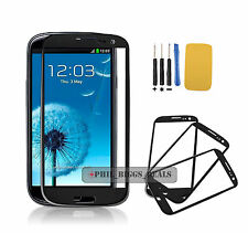 Black Samsung Galaxy S3 i9300 Digitizer Touch Screen Outer Front Lens Glass-UK