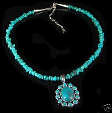 SW Sterling Silver Turquoise Nugget Flower Necklace