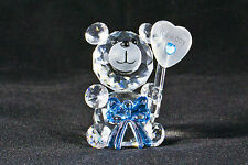 Crystal Bow Bear holding Balloon - Its a boy! - Birth Gift, New baby Boy - NEW