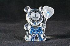 Crystal Bow Bear holding Balloon - Its a boy! - Birth Gift, New baby Boy - NEW