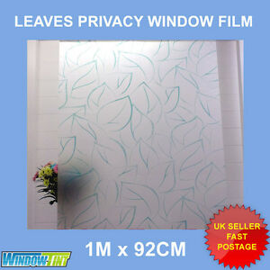 GREEN LEAVES FROSTED PRIVACY WINDOW FILM - 92cm x 1m Roll S033