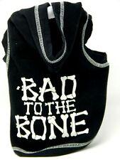 Hoodie Bad to The Bone Black  Fleece Puppy Dog Pet Coat Halloween Costume SM