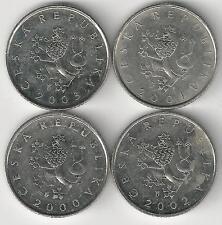 4 DIFFERENT 1 KORUN COINS from the CZECH REPUBLIC (2000, 2001, 2002 & 2003)