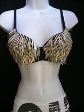 Club Women Bra Fashion Black Sexy Long Spikes Silver Studs Bralet Clubwear M 36B