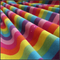Rainbow Striped Knitted Fabric Elastane Stretch Jersey Cuff Material 100 X 170cm