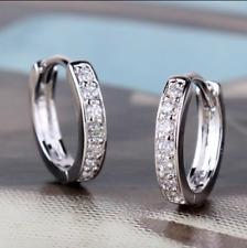 18ct White Gold Filled Topaz Huggie Earrings Hoop Crystal White Sapphire