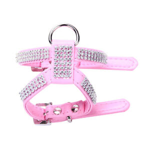 XXS XS Dog Harness Small Pink Yorkie Maltese Puppy Vest W/ Diamante Rhinestone