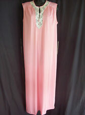 Vtg 60s 70s Pale Pink Long Summer Nightgown Lace Trim Antron Iii 3 Nylon M Femme