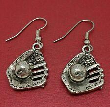 Softball Earrings Ball and Mitt pewter new 3D Glove baseball dangle drop jewelry