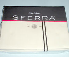 Sferra GRANDE HOTEL King Duvet Cover Ivory/Black Satin Stitch Cotton Percale New
