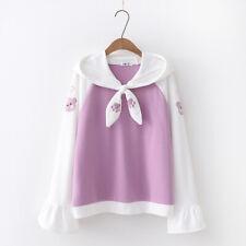 Kawaii Clothing Hoodie Sweatshirt Cute Cat Sailor Collar Harajuku Japanese Coats