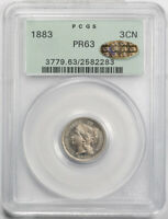 1883 3CN Three Cent Nickel PCGS PR 63 CAC Gold Sticker Proof ! OGH