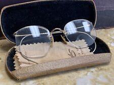 VTG Mid Century Full View 12K Gold Filled Wire Rim Spectacles Glasses&OG Case