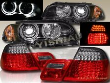 2000-2003 BMW E46 2DR HALO HEADLIGHTS W/ CORNER LIGHT BLACK + LED TAIL LIGHT